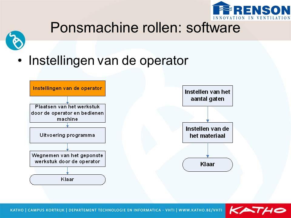 Ponsmachine rollen: software Instellingen van de operator