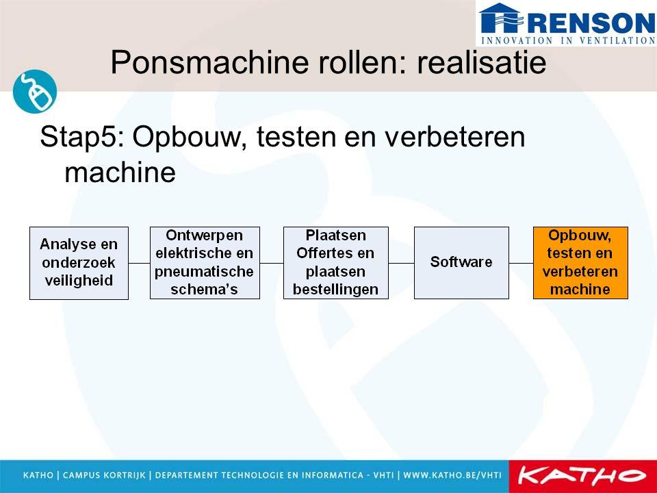 Ponsmachine rollen: realisatie Stap5: Opbouw, testen en verbeteren machine