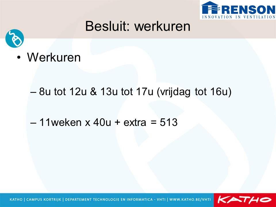 Besluit: werkuren Werkuren –8u tot 12u & 13u tot 17u (vrijdag tot 16u) –11weken x 40u + extra = 513