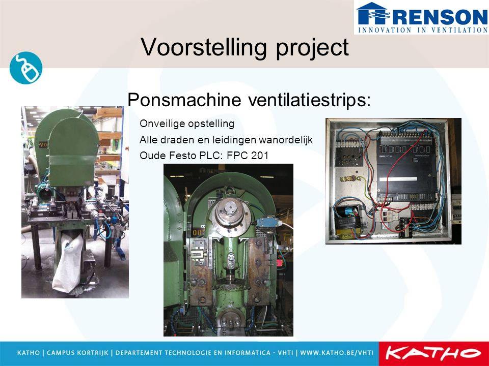 Voorstelling project Ponsmachine ventilatiestrips: Onveilige opstelling Alle draden en leidingen wanordelijk Oude Festo PLC: FPC 201
