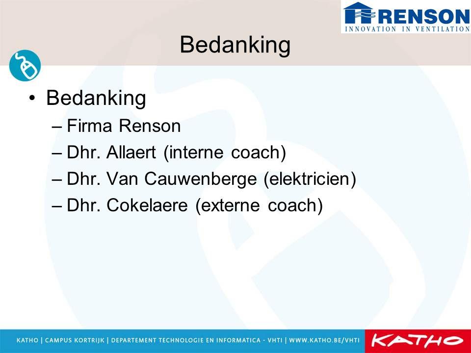 Bedanking –Firma Renson –Dhr. Allaert (interne coach) –Dhr. Van Cauwenberge (elektricien) –Dhr. Cokelaere (externe coach)