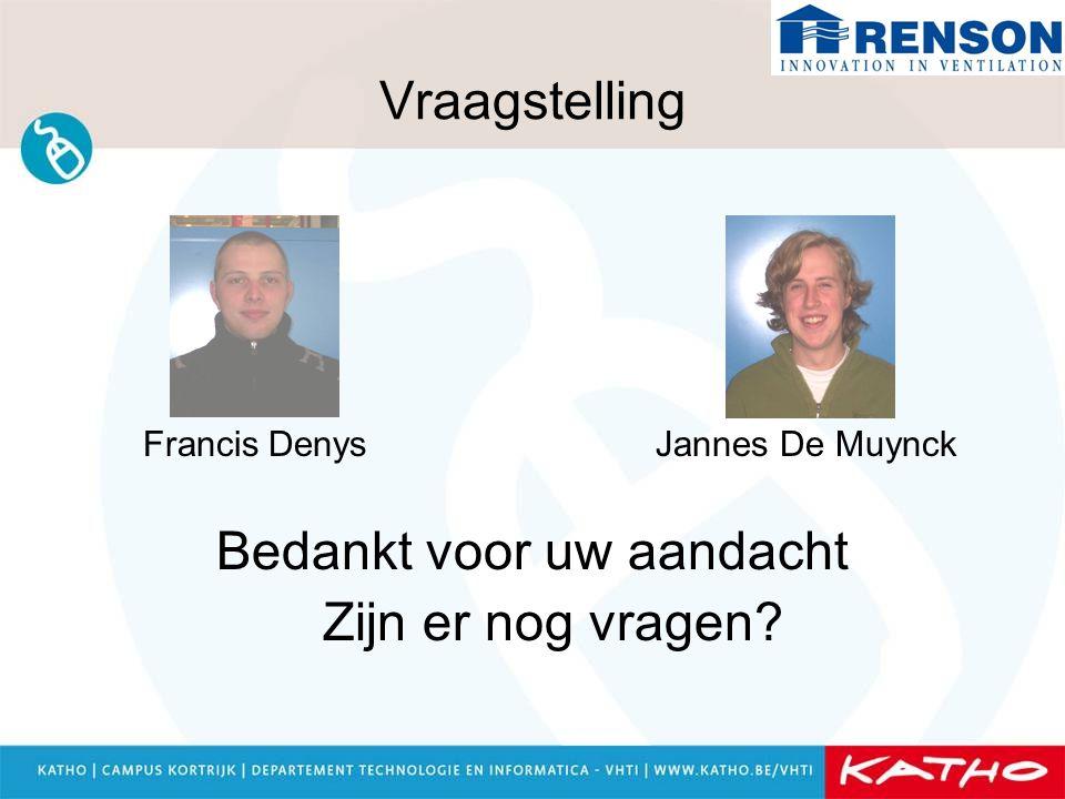 Vraagstelling Francis Denys Jannes De Muynck Bedankt voor uw aandacht Zijn er nog vragen?