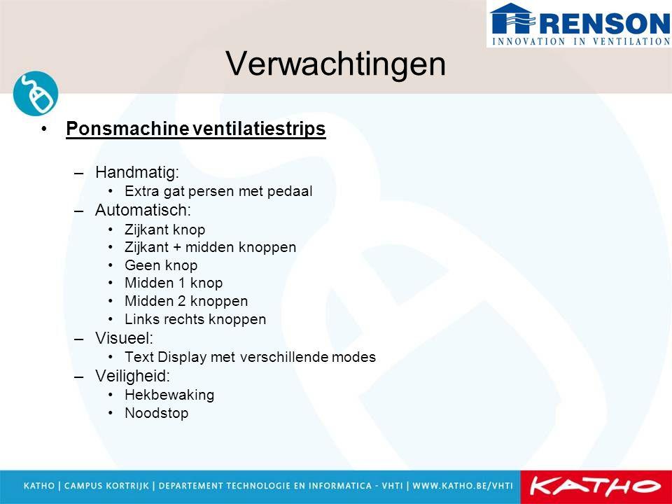Verwachtingen Ponsmachine ventilatiestrips –Handmatig: Extra gat persen met pedaal –Automatisch: Zijkant knop Zijkant + midden knoppen Geen knop Midde
