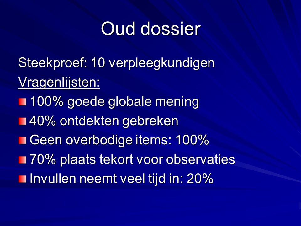 Oud dossier Steekproef: 10 verpleegkundigen Vragenlijsten: 100% goede globale mening 40% ontdekten gebreken Geen overbodige items: 100% 70% plaats tek