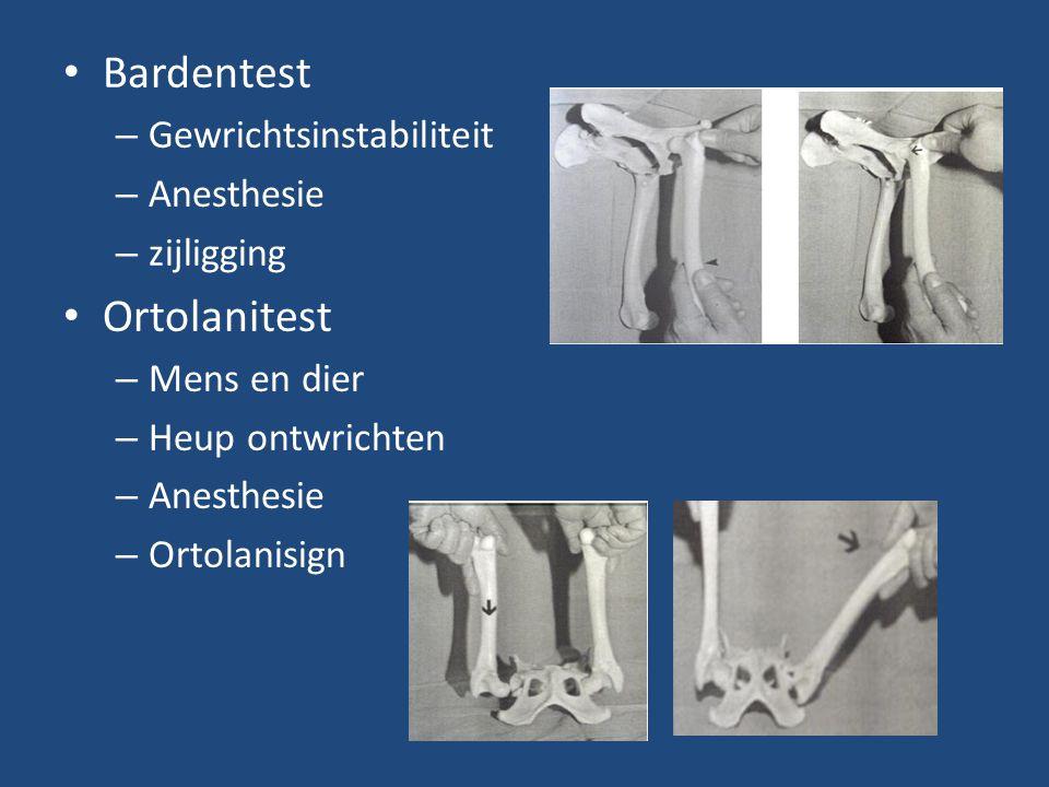 Bardentest – Gewrichtsinstabiliteit – Anesthesie – zijligging Ortolanitest – Mens en dier – Heup ontwrichten – Anesthesie – Ortolanisign