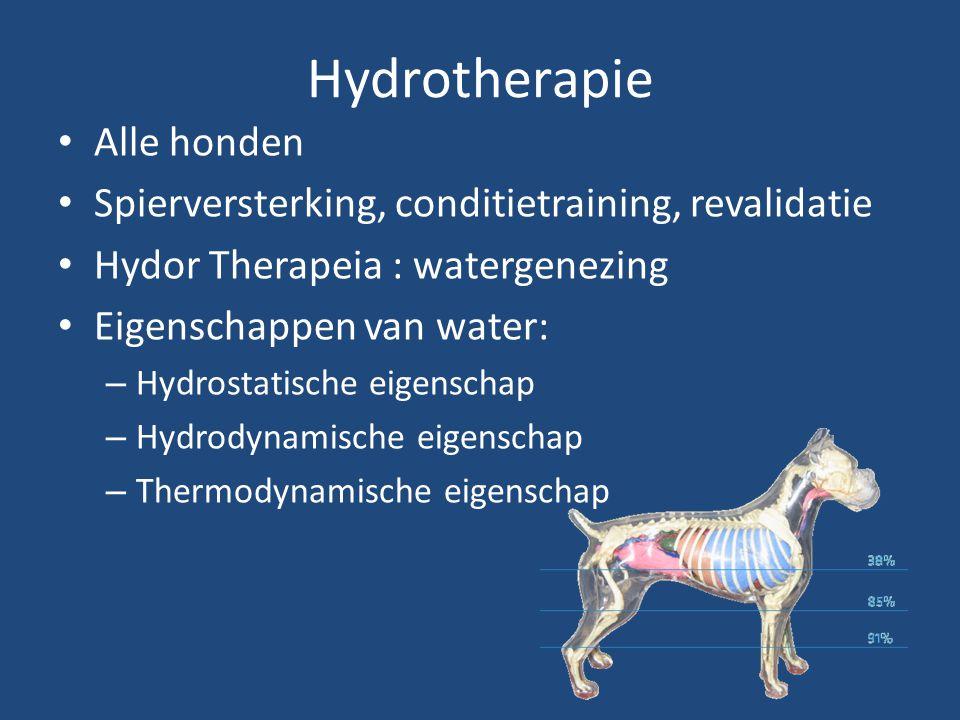 Hydrotherapie Alle honden Spierversterking, conditietraining, revalidatie Hydor Therapeia : watergenezing Eigenschappen van water: – Hydrostatische ei