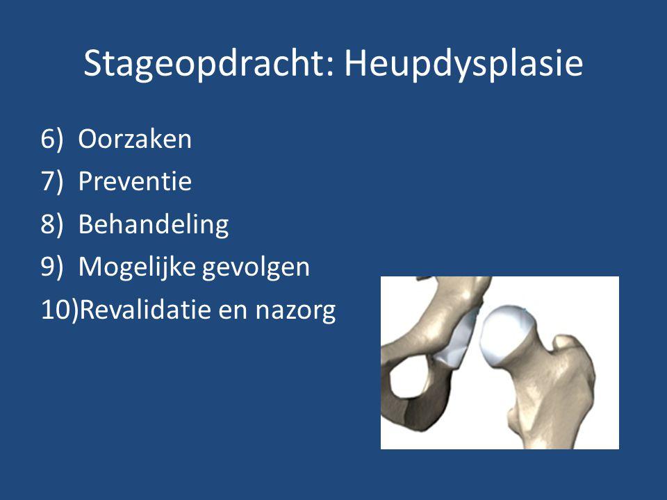 Stageopdracht: Heupdysplasie 6)Oorzaken 7)Preventie 8)Behandeling 9)Mogelijke gevolgen 10)Revalidatie en nazorg