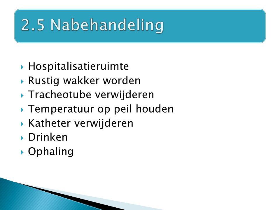  Hospitalisatieruimte  Rustig wakker worden  Tracheotube verwijderen  Temperatuur op peil houden  Katheter verwijderen  Drinken  Ophaling