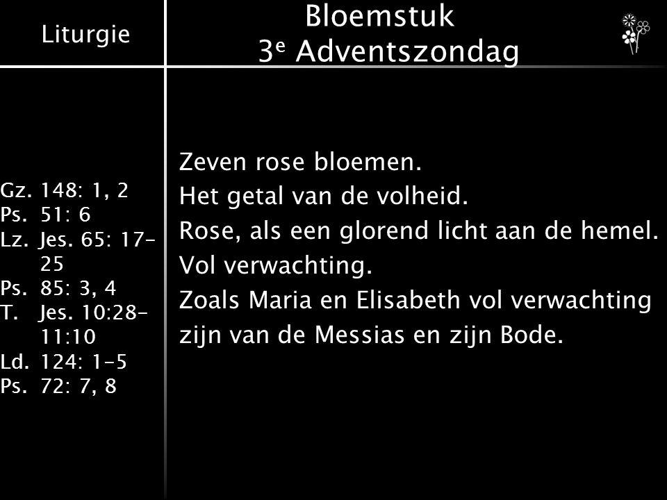 Liturgie Gz.148: 1, 2 Ps.51: 6 Lz.Jes. 65: 17- 25 Ps.85: 3, 4 T.Jes. 10:28- 11:10 Ld.124: 1-5 Ps.72: 7, 8 Bloemstuk 3 e Adventszondag Zeven rose bloem
