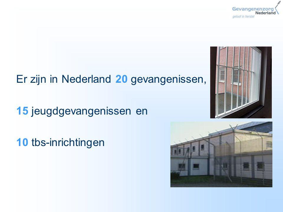 Er zijn in Nederland 20 gevangenissen, 15 jeugdgevangenissen en 10 tbs-inrichtingen