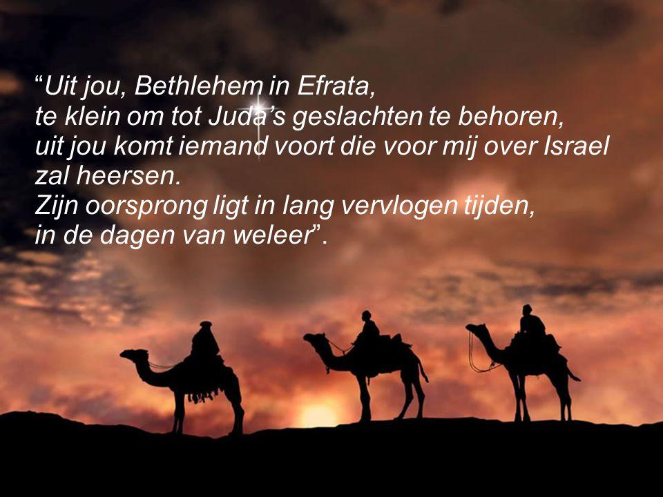 Uit jou, Bethlehem in Efrata, te klein om tot Juda's geslachten te behoren, uit jou komt iemand voort die voor mij over Israel zal heersen.