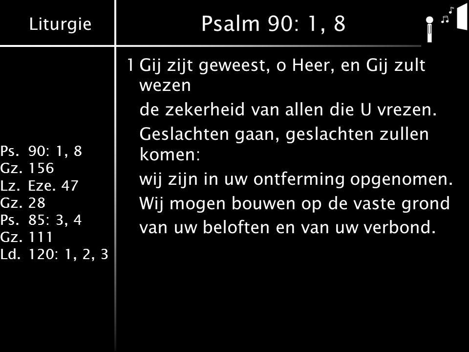 Liturgie Ps.90: 1, 8 Gz.156 Lz.Eze. 47 Gz.28 Ps.85: 3, 4 Gz.111 Ld.120: 1, 2, 3 Psalm 90: 1, 8 1Gij zijt geweest, o Heer, en Gij zult wezen de zekerhe