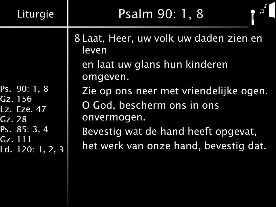Liturgie Ps.90: 1, 8 Gz.156 Lz.Eze. 47 Gz.28 Ps.85: 3, 4 Gz.111 Ld.120: 1, 2, 3 Psalm 90: 1, 8 8Laat, Heer, uw volk uw daden zien en leven en laat uw