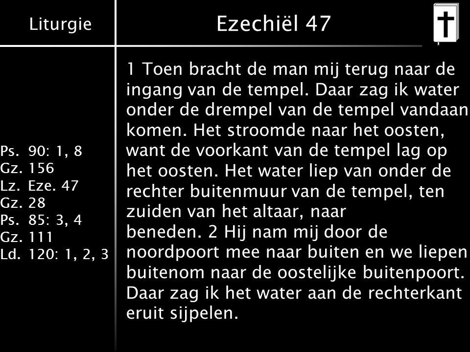 Liturgie Ps.90: 1, 8 Gz.156 Lz.Eze. 47 Gz.28 Ps.85: 3, 4 Gz.111 Ld.120: 1, 2, 3 Ezechiël 47 1 Toen bracht de man mij terug naar de ingang van de tempe