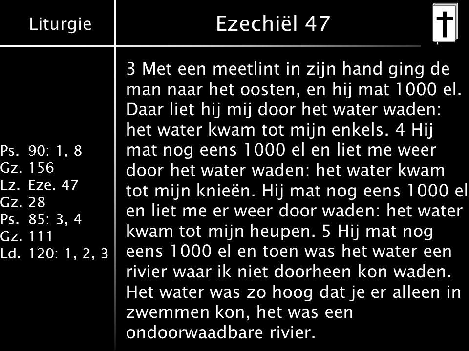 Liturgie Ps.90: 1, 8 Gz.156 Lz.Eze. 47 Gz.28 Ps.85: 3, 4 Gz.111 Ld.120: 1, 2, 3 Ezechiël 47 3 Met een meetlint in zijn hand ging de man naar het ooste