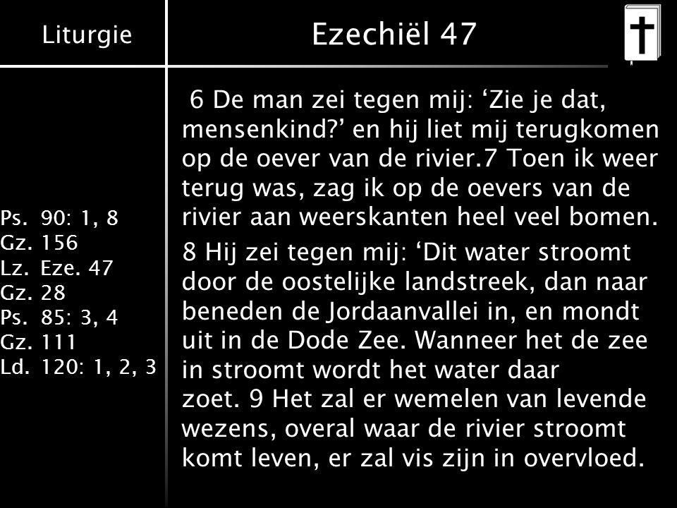 Liturgie Ps.90: 1, 8 Gz.156 Lz.Eze. 47 Gz.28 Ps.85: 3, 4 Gz.111 Ld.120: 1, 2, 3 Ezechiël 47 6 De man zei tegen mij: 'Zie je dat, mensenkind?' en hij l