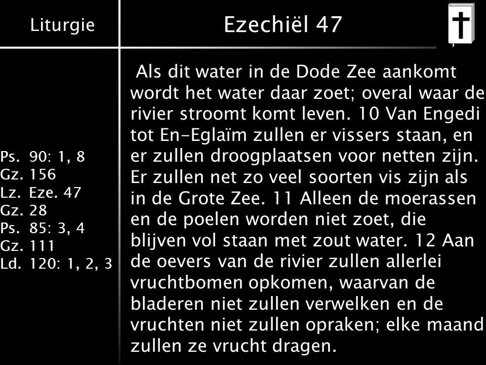 Liturgie Ps.90: 1, 8 Gz.156 Lz.Eze. 47 Gz.28 Ps.85: 3, 4 Gz.111 Ld.120: 1, 2, 3 Ezechiël 47 Als dit water in de Dode Zee aankomt wordt het water daar