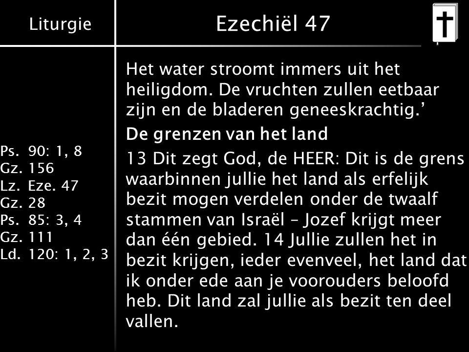 Liturgie Ps.90: 1, 8 Gz.156 Lz.Eze. 47 Gz.28 Ps.85: 3, 4 Gz.111 Ld.120: 1, 2, 3 Ezechiël 47 Het water stroomt immers uit het heiligdom. De vruchten zu