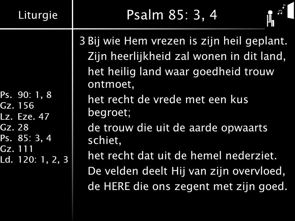 Liturgie Ps.90: 1, 8 Gz.156 Lz.Eze. 47 Gz.28 Ps.85: 3, 4 Gz.111 Ld.120: 1, 2, 3 Psalm 85: 3, 4 3Bij wie Hem vrezen is zijn heil geplant. Zijn heerlijk
