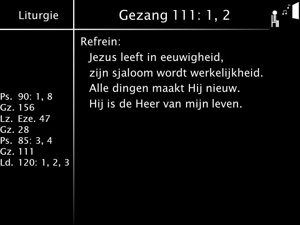 Liturgie Ps.90: 1, 8 Gz.156 Lz.Eze. 47 Gz.28 Ps.85: 3, 4 Gz.111 Ld.120: 1, 2, 3 Gezang 111: 1, 2 Refrein: Jezus leeft in eeuwigheid, zijn sjaloom word