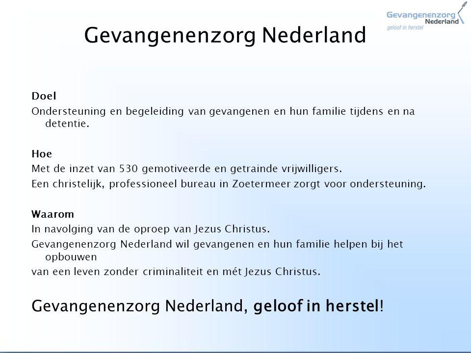 Hoe helpt Gevangenenzorg Nederland TIJDENS detentie: Gevangenenzorg > vrijwilligers bezoeken gevangenen in de gevangenis Familiezorg > vrijwilligers bezoeken familie van gevangenen thuis SOS > vrijwilligers Spreken Over Schuld met (jeugd-)gevangenen om toe te werken naar herstel met het Slachtoffer en de Samenleving Kinderkado > vrijwilligers brengen een cadeau bij kinderen van gevangenen namens hun vader of moeder in de gevangenis