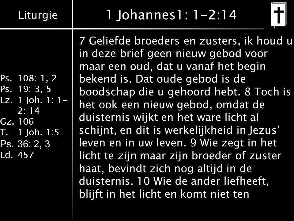 Liturgie Ps.108: 1, 2 Ps.19: 3, 5 Lz.1 Joh. 1: 1- 2: 14 Gz.106 T.1 Joh. 1:5 Ps.36: 2, 3 Ld.457 1 Johannes1: 1-2:14 7 Geliefde broeders en zusters, ik
