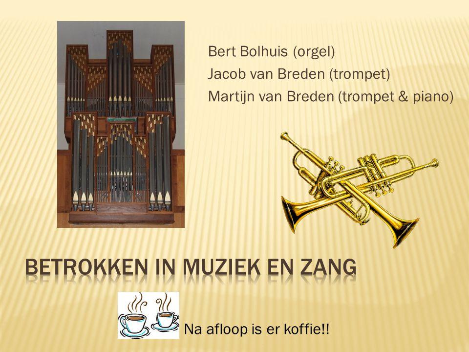 Bert Bolhuis (orgel) Jacob van Breden (trompet) Martijn van Breden (trompet & piano) Na afloop is er koffie!!