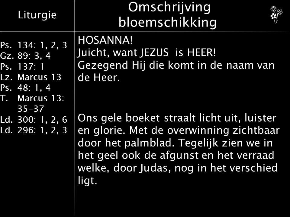 Liturgie Ps.134: 1, 2, 3 Gz.89: 3, 4 Ps.137: 1 Lz.Marcus 13 Ps.48: 1, 4 T.Marcus 13: 35-37 Ld.300: 1, 2, 6 Ld.296: 1, 2, 3 Lied 300: 1, 2, 6 6Van die dag kan niemand weten, maar het woord drijft aan tot spoed, zouden wij niet haastig eten, gaandeweg Hem tegemoet, Jezus Christus, gistren, heden, komt voor eens en komt voor goed!