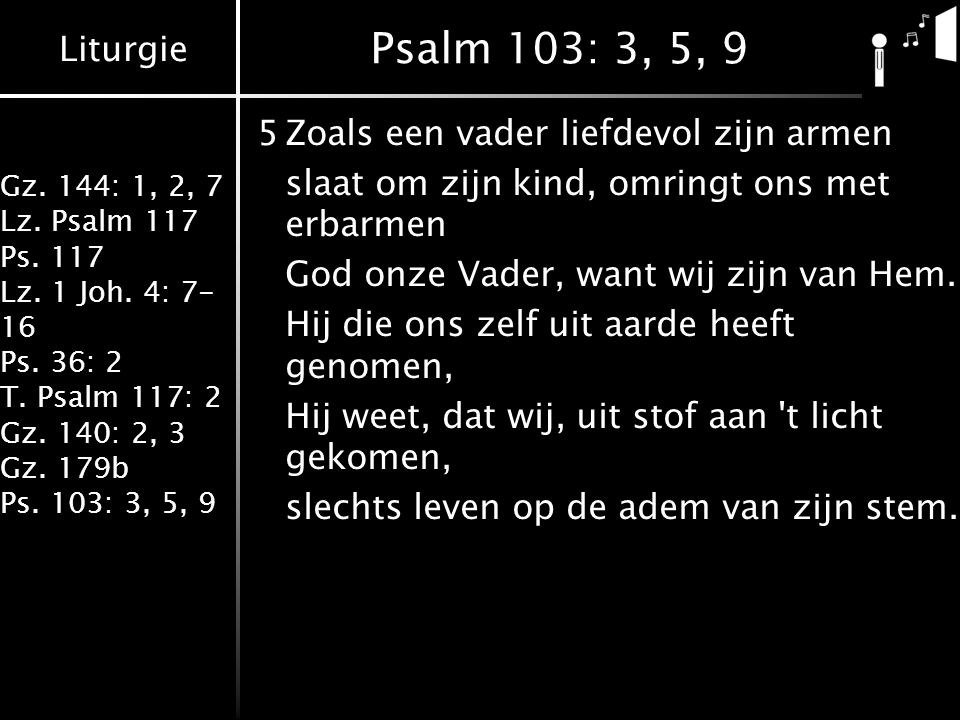 Liturgie Gz.144: 1, 2, 7 Lz. Psalm 117 Ps. 117 Lz.