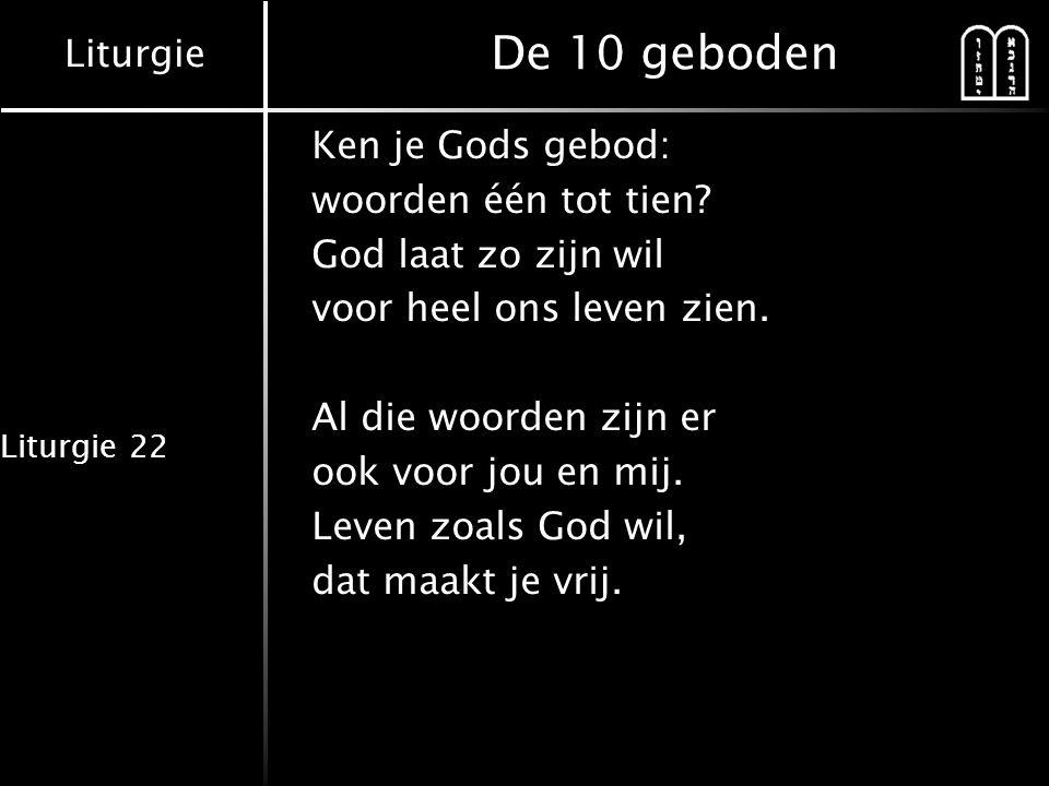 Liturgie Liturgie 22 1 e en 2 e gebod Eén dat is de Heer, niemand is als God.