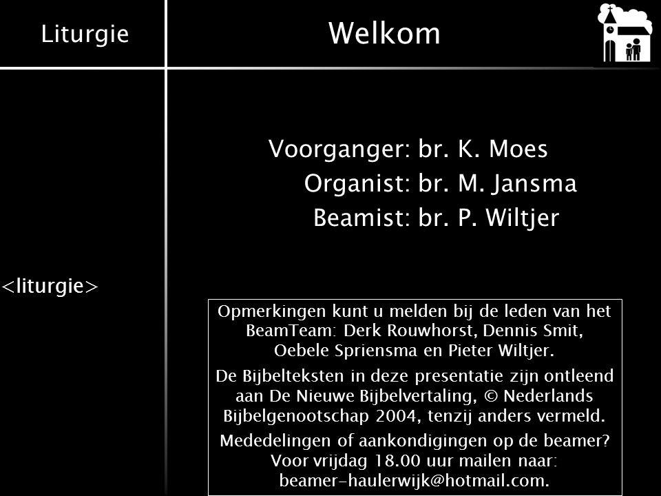 Liturgie Welkom Voorganger:br. K. Moes Organist:br. M. Jansma Beamist:br. P. Wiltjer Opmerkingen kunt u melden bij de leden van het BeamTeam: Derk Rou