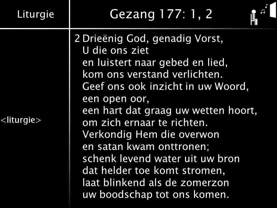 Liturgie Gezang 177: 1, 2 2Drieënig God, genadig Vorst, U die ons ziet en luistert naar gebed en lied, kom ons verstand verlichten. Geef ons ook inzic