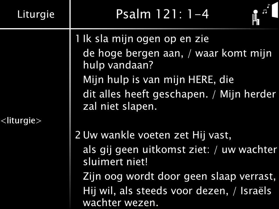 Liturgie Psalm 121: 1-4 1Ik sla mijn ogen op en zie de hoge bergen aan, / waar komt mijn hulp vandaan? Mijn hulp is van mijn HERE, die dit alles heeft
