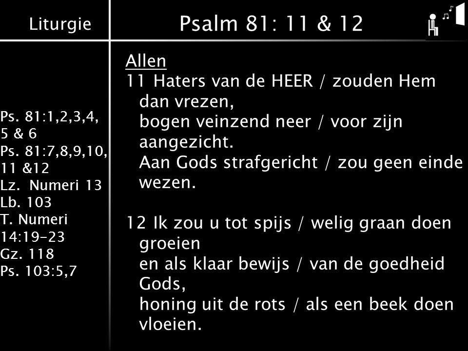 Liturgie Ps. 81:1,2,3,4, 5 & 6 Ps. 81:7,8,9,10, 11 &12 Lz. Numeri 13 Lb. 103 T. Numeri 14:19-23 Gz. 118 Ps. 103:5,7 Psalm 81: 11 & 12 Allen 11Haters v