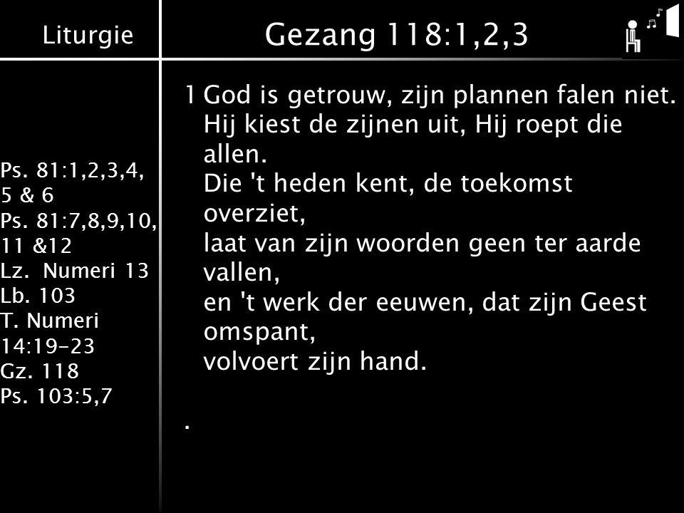 Liturgie Ps. 81:1,2,3,4, 5 & 6 Ps. 81:7,8,9,10, 11 &12 Lz.