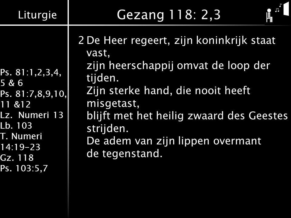 Liturgie Ps. 81:1,2,3,4, 5 & 6 Ps. 81:7,8,9,10, 11 &12 Lz. Numeri 13 Lb. 103 T. Numeri 14:19-23 Gz. 118 Ps. 103:5,7 Gezang 118: 2,3 2De Heer regeert,