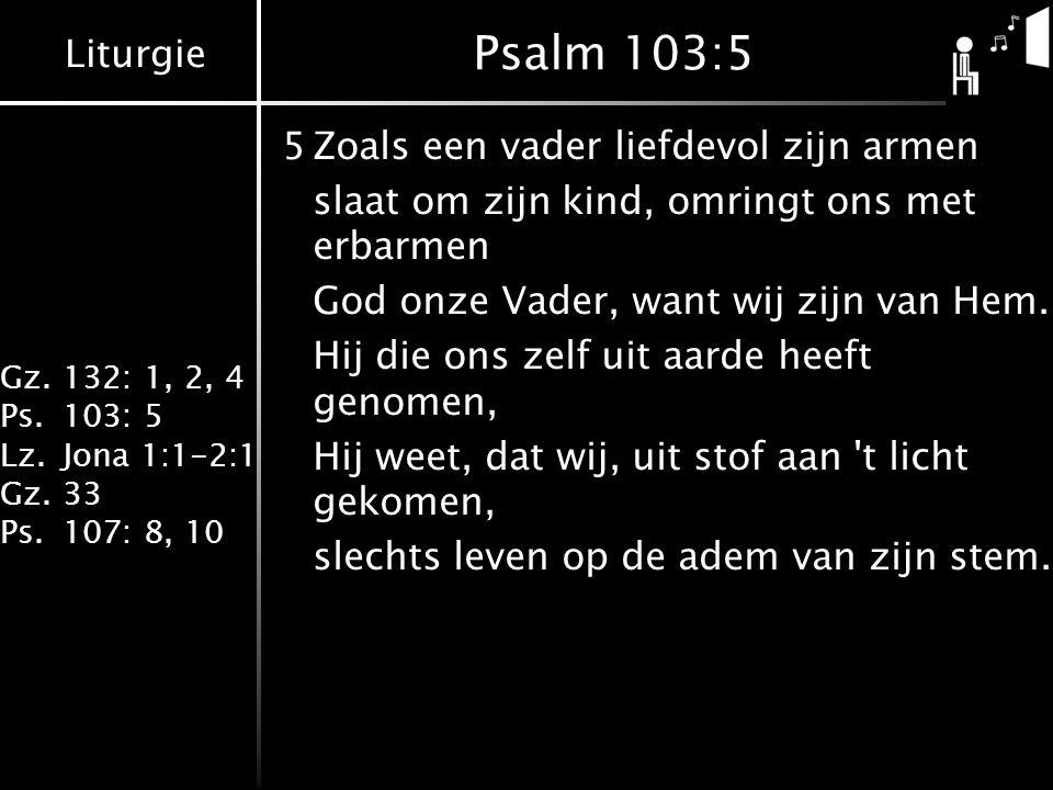 Liturgie Gz.132: 1, 2, 4 Ps.103: 5 Lz.Jona 1:1-2:1 Gz.33 Ps.107: 8, 10 Psalm 103:5 5Zoals een vader liefdevol zijn armen slaat om zijn kind, omringt o