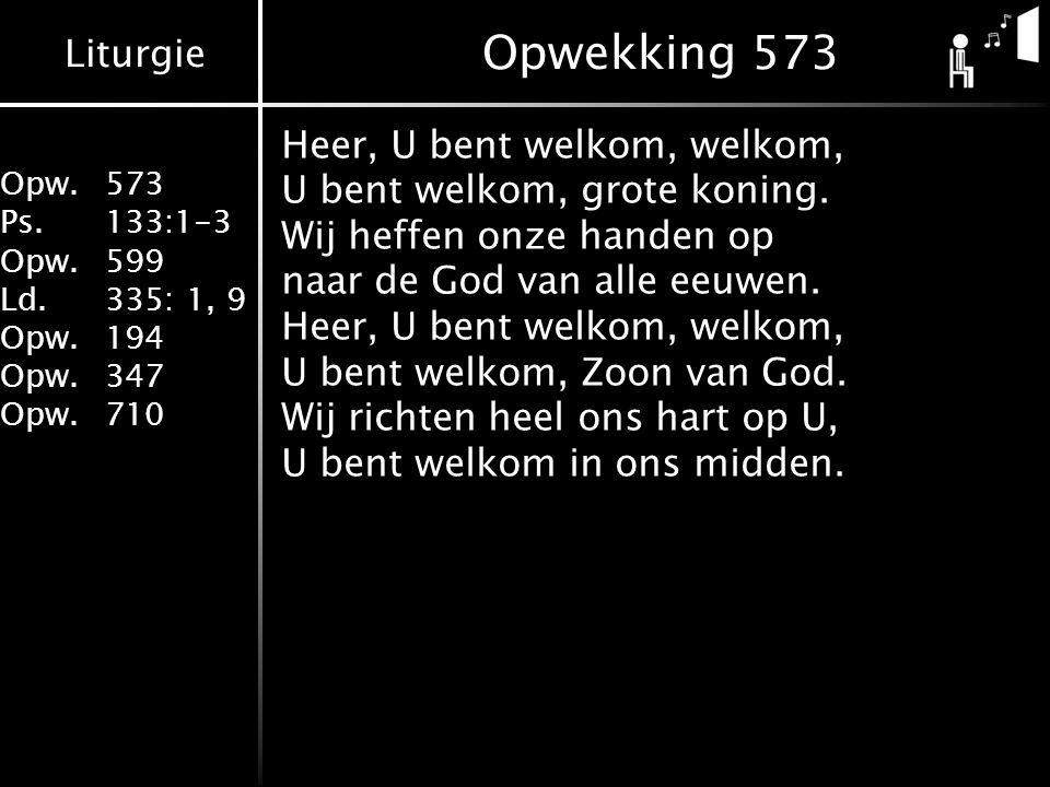 Liturgie Opw.573 Ps.133:1-3 Opw.599 Ld.335: 1, 9 Opw.194 Opw.347 Opw.710 Collecte Zending & Bibliotheek Theologische Universiteit