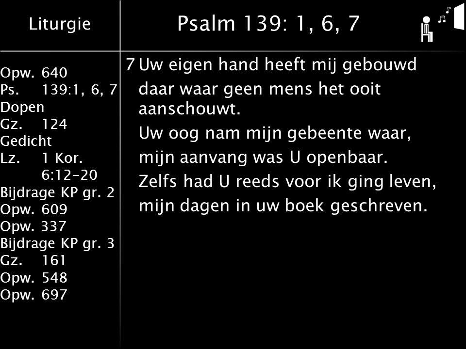 Liturgie Opw.640 Ps.139:1, 6, 7 Dopen Gz.124 Gedicht Lz. 1 Kor. 6:12-20 Bijdrage KP gr. 2 Opw.609 Opw. 337 Bijdrage KP gr. 3 Gz.161 Opw.548 Opw.697 Ps
