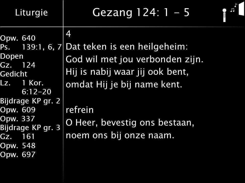 Liturgie Opw.640 Ps.139:1, 6, 7 Dopen Gz.124 Gedicht Lz. 1 Kor. 6:12-20 Bijdrage KP gr. 2 Opw.609 Opw. 337 Bijdrage KP gr. 3 Gz.161 Opw.548 Opw.697 4