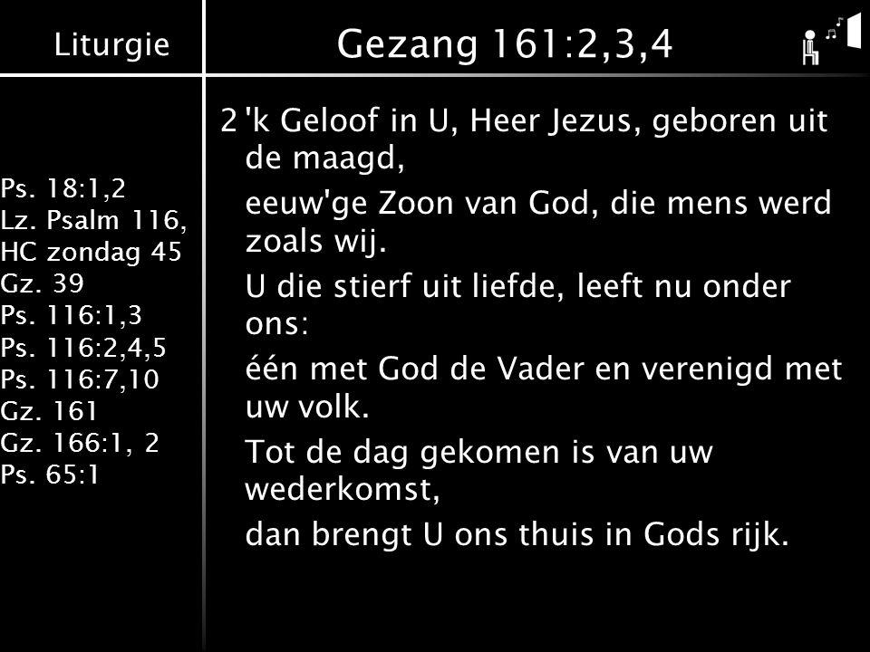 Liturgie Ps. 18:1,2 Lz. Psalm 116, HC zondag 45 Gz. 39 Ps. 116:1,3 Ps. 116:2,4,5 Ps. 116:7,10 Gz. 161 Gz. 166:1, 2 Ps. 65:1 Gezang 161:2,3,4 2'k Geloo