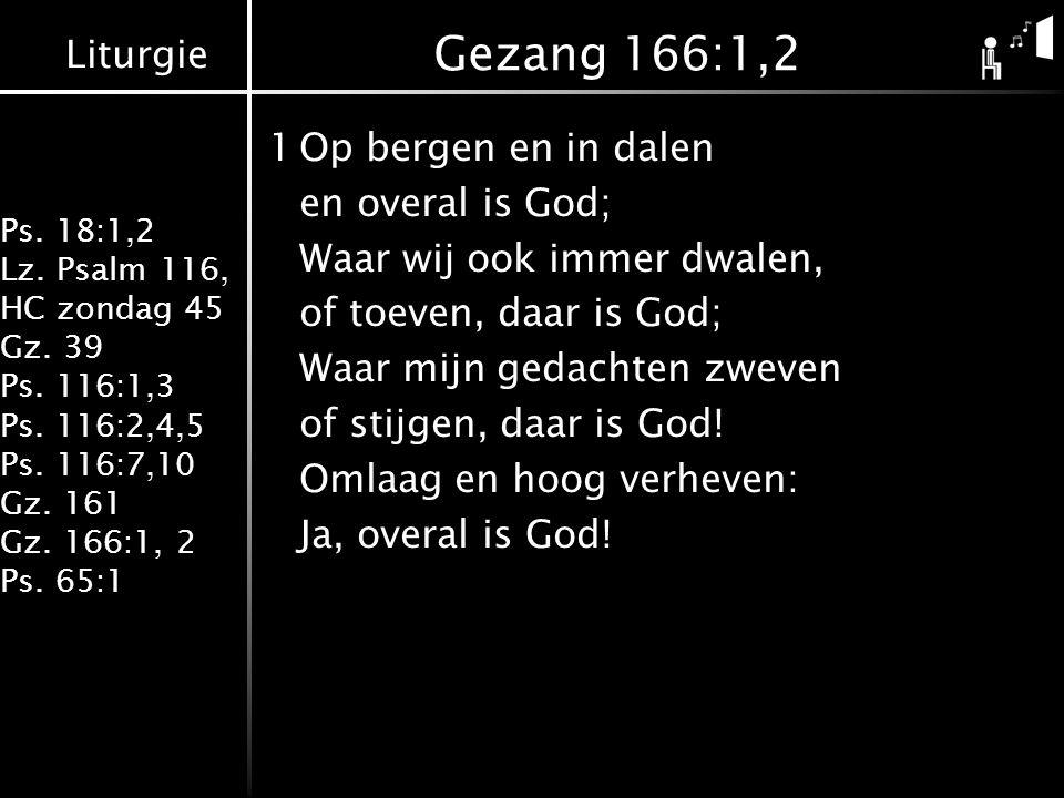 Liturgie Ps. 18:1,2 Lz. Psalm 116, HC zondag 45 Gz. 39 Ps. 116:1,3 Ps. 116:2,4,5 Ps. 116:7,10 Gz. 161 Gz. 166:1, 2 Ps. 65:1 Gezang 166:1,2 1Op bergen