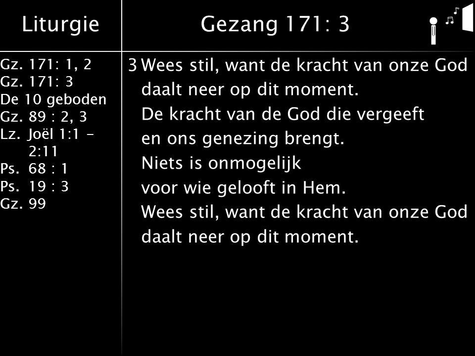 Liturgie Gz.171: 1, 2 Gz.171: 3 De 10 geboden Gz.89 : 2, 3 Lz.Joël 1:1 - 2:11 Ps.68 : 1 Ps.19 : 3 Gz.99 3Wees stil, want de kracht van onze God daalt neer op dit moment.