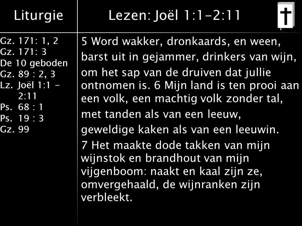 Liturgie Gz.171: 1, 2 Gz.171: 3 De 10 geboden Gz.89 : 2, 3 Lz.Joël 1:1 - 2:11 Ps.68 : 1 Ps.19 : 3 Gz.99 5 Word wakker, dronkaards, en ween, barst uit in gejammer, drinkers van wijn, om het sap van de druiven dat jullie ontnomen is.
