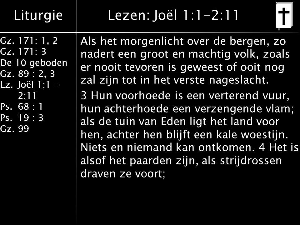 Liturgie Gz.171: 1, 2 Gz.171: 3 De 10 geboden Gz.89 : 2, 3 Lz.Joël 1:1 - 2:11 Ps.68 : 1 Ps.19 : 3 Gz.99 Als het morgenlicht over de bergen, zo nadert een groot en machtig volk, zoals er nooit tevoren is geweest of ooit nog zal zijn tot in het verste nageslacht.