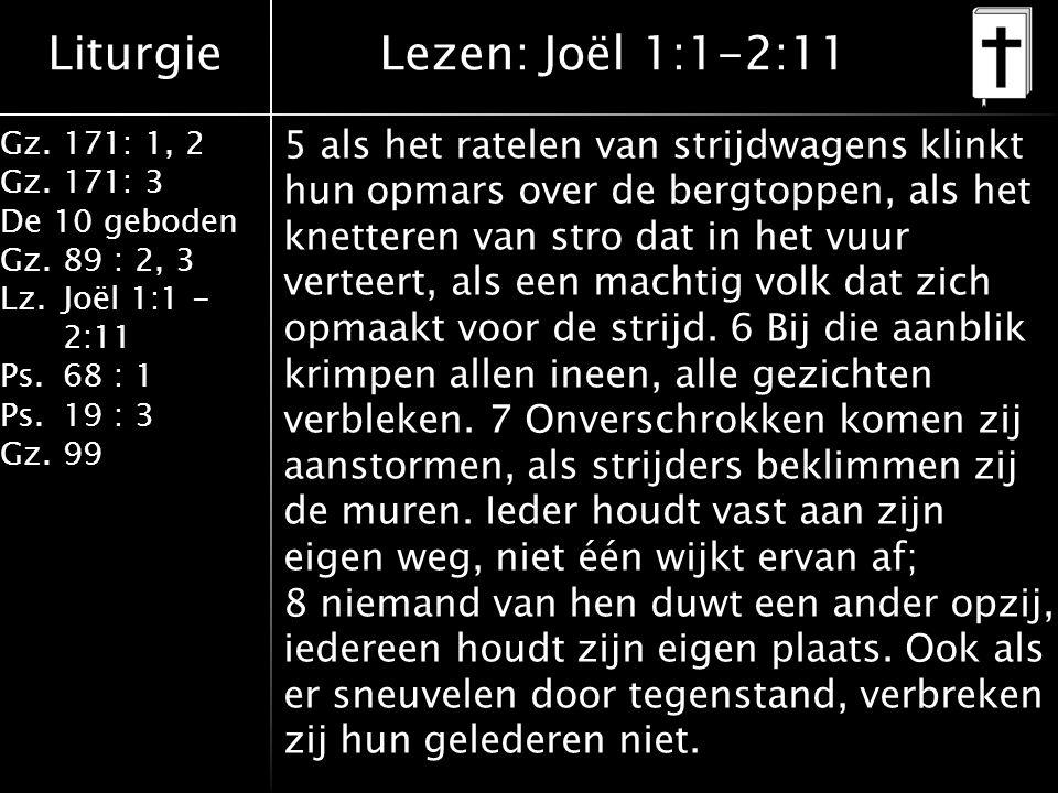Liturgie Gz.171: 1, 2 Gz.171: 3 De 10 geboden Gz.89 : 2, 3 Lz.Joël 1:1 - 2:11 Ps.68 : 1 Ps.19 : 3 Gz.99 5 als het ratelen van strijdwagens klinkt hun opmars over de bergtoppen, als het knetteren van stro dat in het vuur verteert, als een machtig volk dat zich opmaakt voor de strijd.