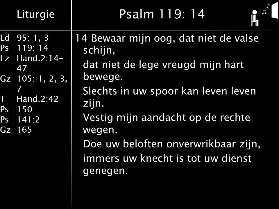 Liturgie Ld95: 1, 3 Ps119: 14 LzHand.2:14- 47 Gz105: 1, 2, 3, 7 THand.2:42 Ps150 Ps141:2 Gz165 14Bewaar mijn oog, dat niet de valse schijn, dat niet de lege vreugd mijn hart bewege.