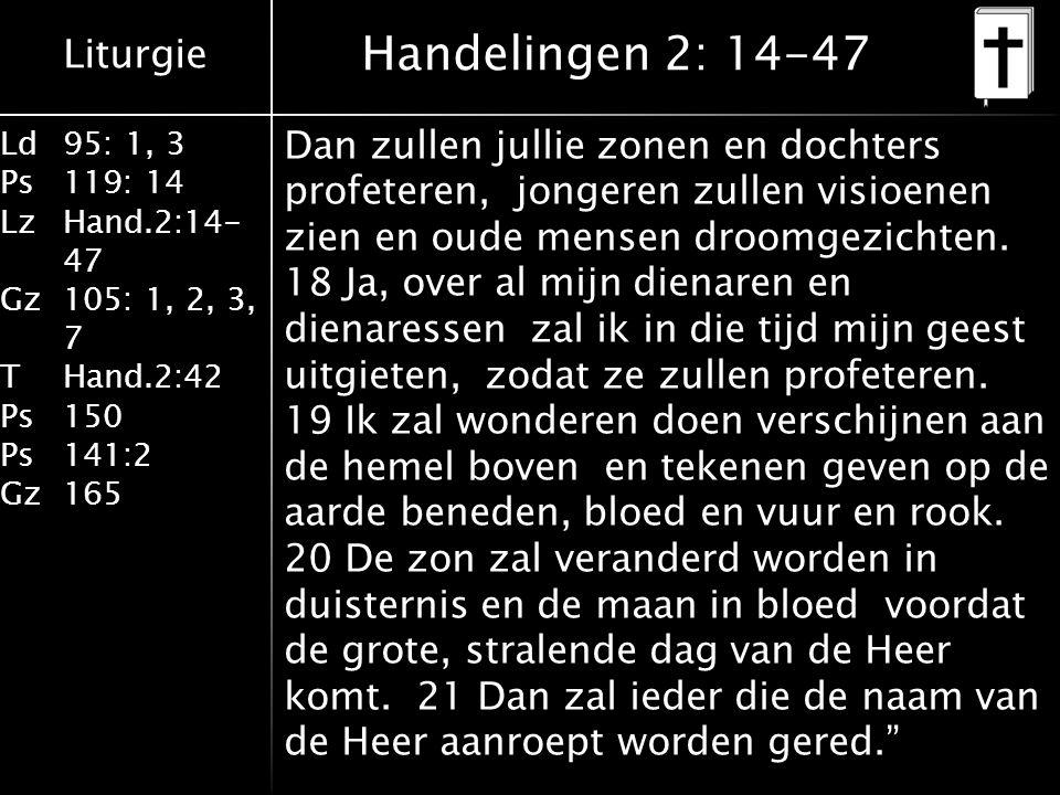 Liturgie Ld95: 1, 3 Ps119: 14 LzHand.2:14- 47 Gz105: 1, 2, 3, 7 THand.2:42 Ps150 Ps141:2 Gz165 Dan zullen jullie zonen en dochters profeteren, jongeren zullen visioenen zien en oude mensen droomgezichten.