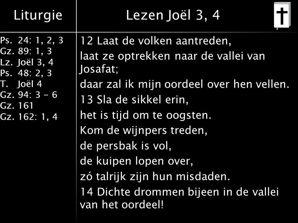 Liturgie Ps.24: 1, 2, 3 Gz.89: 1, 3 Lz.Joël 3, 4 Ps.48: 2, 3 T.Joël 4 Gz.94: 3 - 6 Gz.161 Gz.162: 1, 4 12 Laat de volken aantreden, laat ze optrekken naar de vallei van Josafat; daar zal ik mijn oordeel over hen vellen.