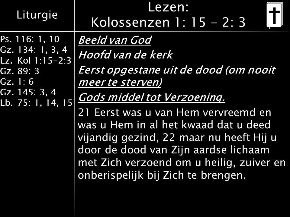 Liturgie Ps. 116: 1, 10 Gz.134: 1, 3, 4 Lz.Kol 1:15-2:3 Gz.89: 3 Gz.1: 6 Gz.145: 3, 4 Lb.75: 1, 14, 15 Lezen: Kolossenzen 1: 15 - 2: 3 Beeld van God H